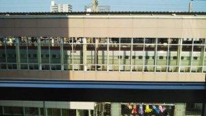 仙台駅に新幹線が止まっている所(向いのパルコのカフェから撮影)